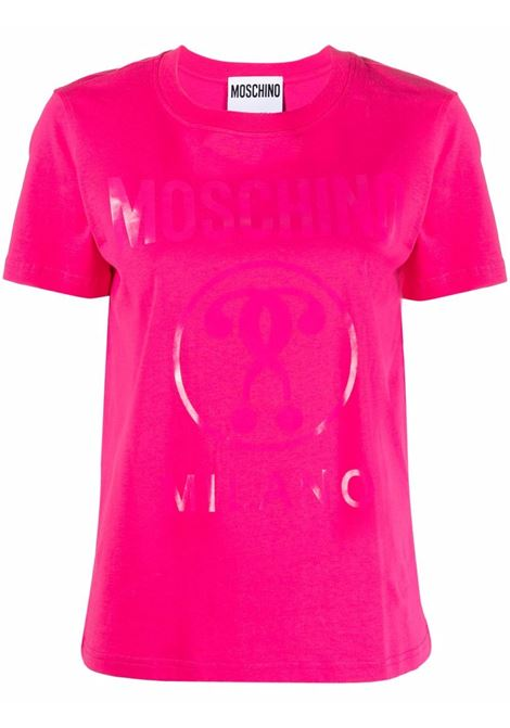 T-shirt con stampa double question mark in rosa -donna MOSCHINO | J071055403217