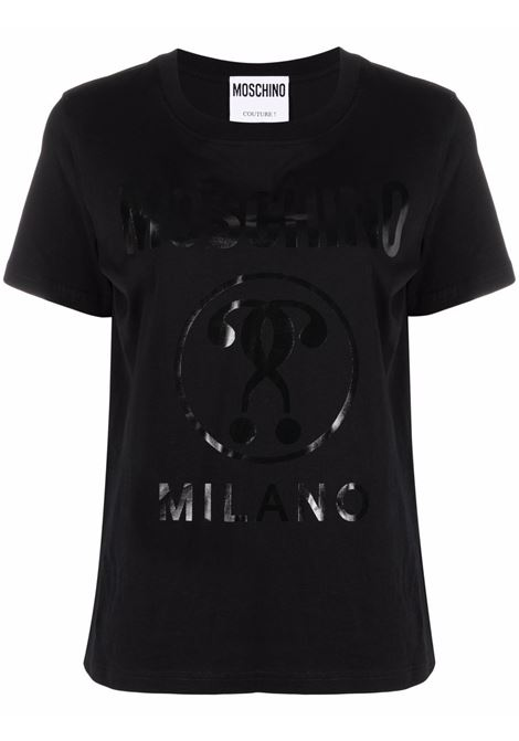 T-shirt con stampa double question mark in nero -donna MOSCHINO | J071055403555
