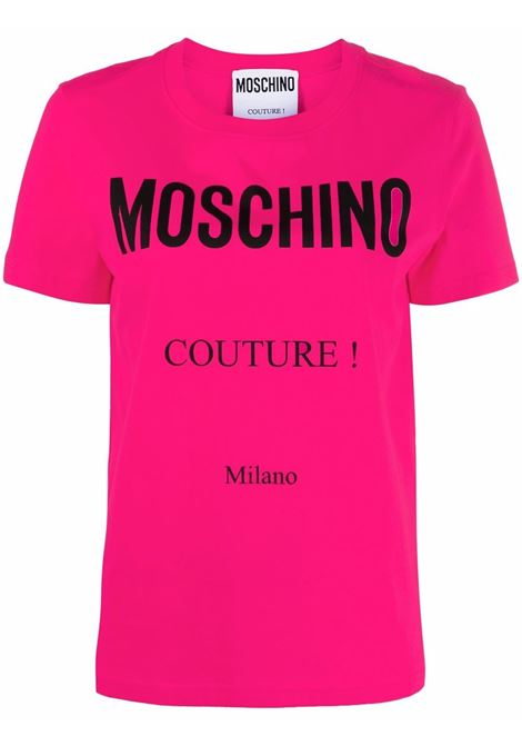T-shirt con stampa couture in rosa - donna MOSCHINO | J071155403217