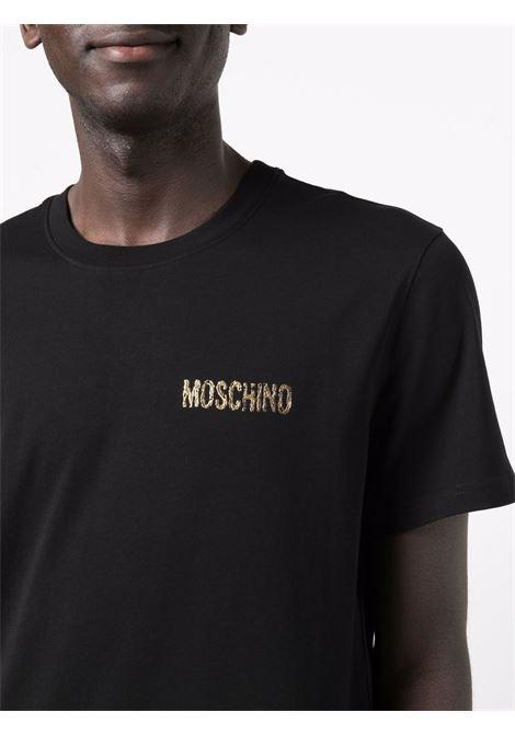 T-shirt con logo 3d in nero -uomo MOSCHINO | J071452405555