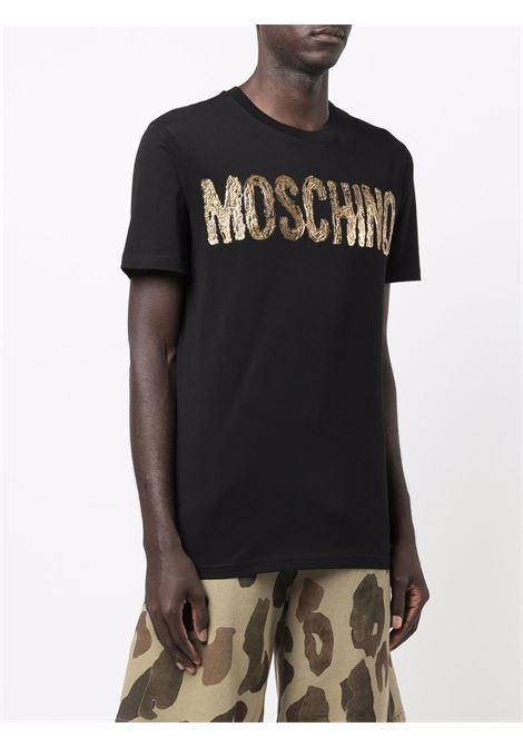 T-shirt con logo 3d in nero -uomo MOSCHINO | J071752405555