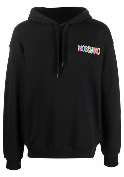 Felpa con logo motivo arcobaleno in nero - uomo MOSCHINO | J171652271555