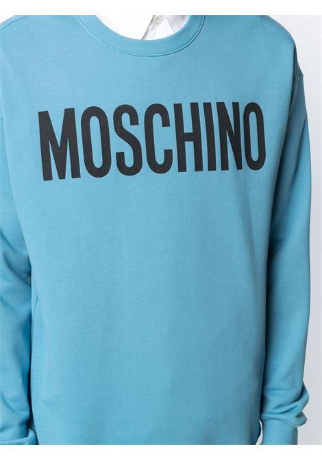 Felpa con logo a contrasto blu - uomo MOSCHINO | J171870271307