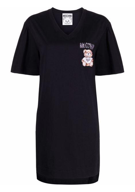 Abito modello T-shirt Teddy Bear con stampa in nero - donna MOSCHINO | V045654401555