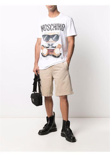 T-shirt con stampa in bianco - uomo MOSCHINO   V070152401001