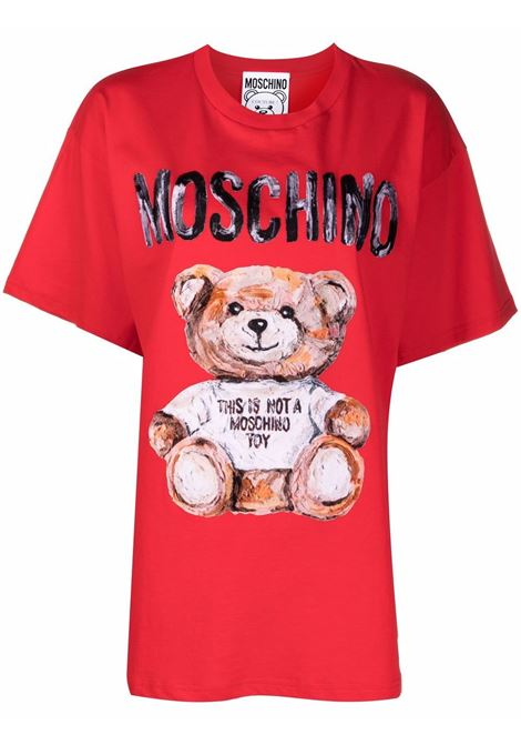 T-shirt Teddy Bear con stampa in rosso - donna MOSCHINO | V070254401112