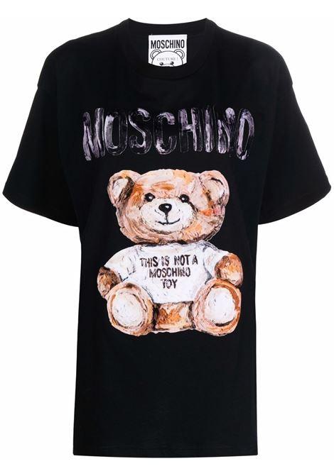 T-shirt Teddy Bear con stampa in nero - donna MOSCHINO | V070254401555