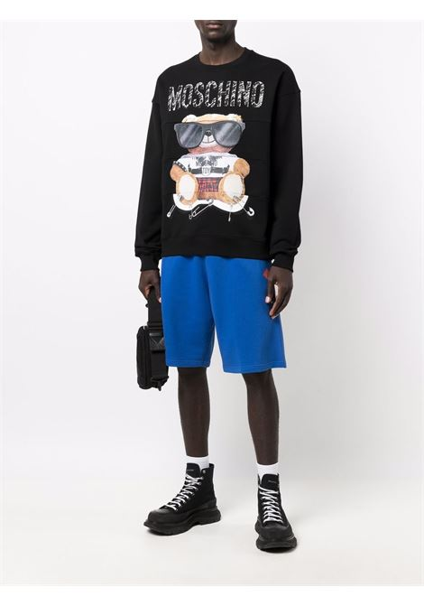 Felpa Teddy Bear con stampa in nero e multicolore - uomo MOSCHINO   V170252271555