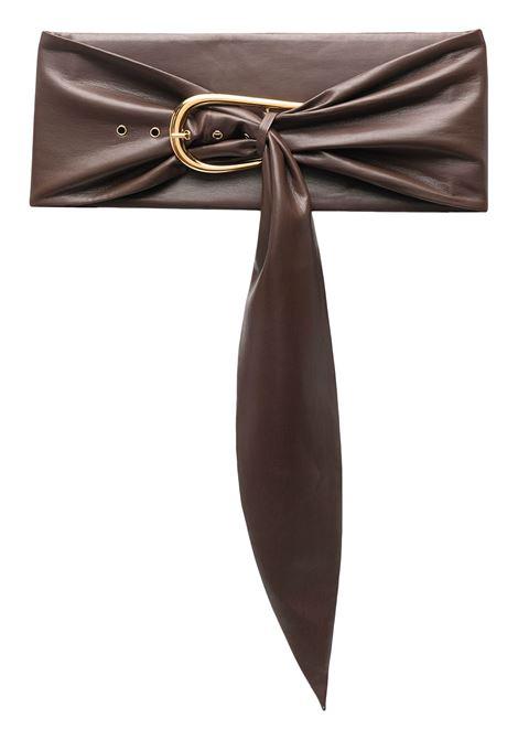 Dark brown buckle-fastening ruched belt - woman NANUSHKA | NW21PFBT00378