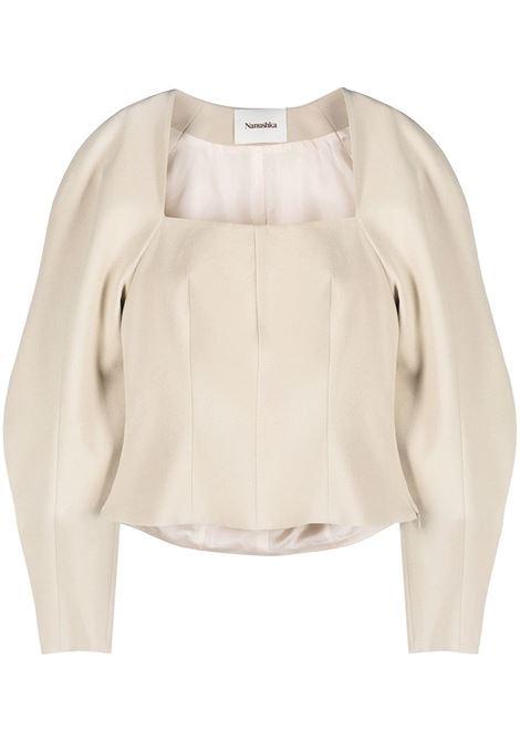 Stone white Harini puff-sleeve blouse - women  NANUSHKA | NW21PFTP00873