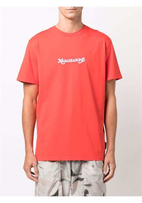 T-shirt con logo ricamato in rosso - uomo NASASEASONS | T052R