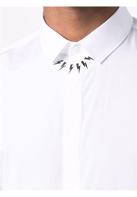 White Thunderbolt print long-sleeve shirt - men  NEIL BARRETT | BCM007CR003S526