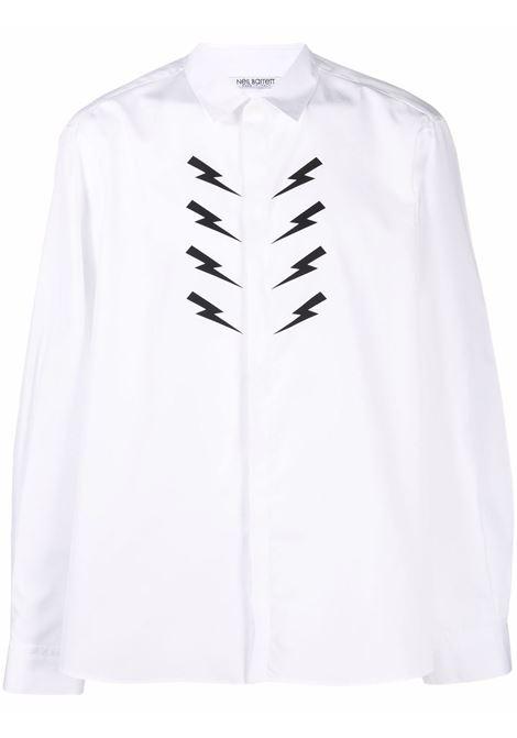 White Thunderbolt print long-sleeve shirt - men  NEIL BARRETT | BCM008SR002S526