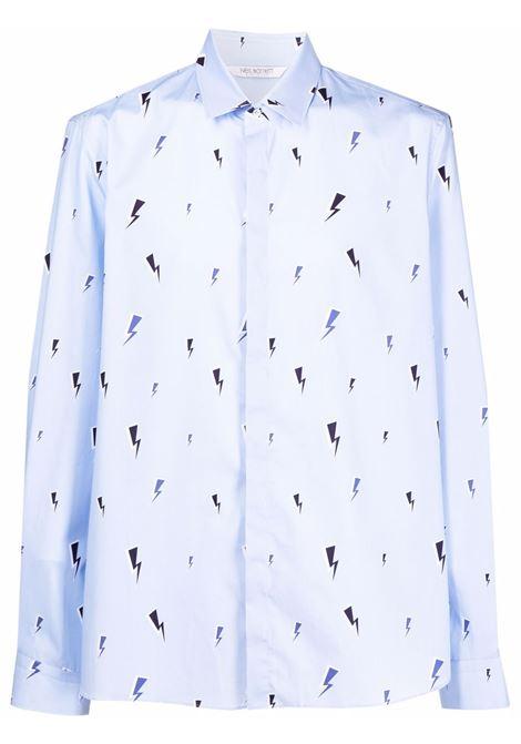 Camicia con stampa Thunderbolt in azzurro - uomo NEIL BARRETT | BCM027SR013S2826