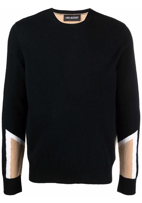 Black colour-block wool-cashmere blend jumper - men  NEIL BARRETT | BMA003ER603C1983