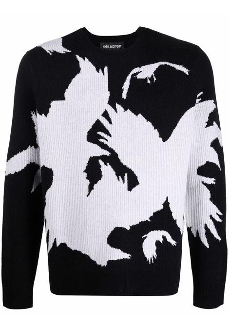 Black intarsia-knit crew-neck jumper - men  NEIL BARRETT | BMA017R610C1831