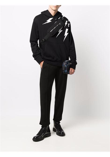 Pantaloni sportivi con cucitura decorativa in nero - uomo NEIL BARRETT | BPA011HR01901