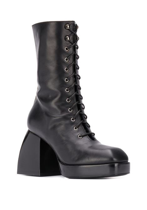 Black lace-up high heel boots - women NODALETO | NO122BLK