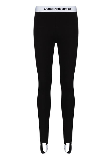 Black contrast logo-stripe stirrup leggings - women  PACO RABANNE | 19EJPA002VI0071P001