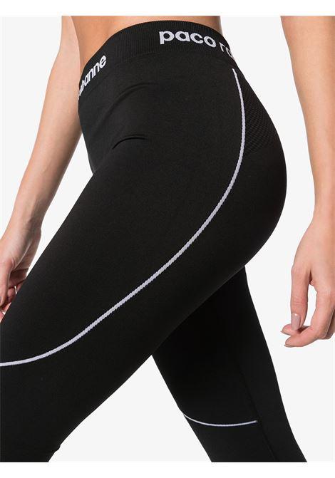 Black and grey panelled logo-detailed leggings - women  PACO RABANNE | 19EJPA003PA0135M002