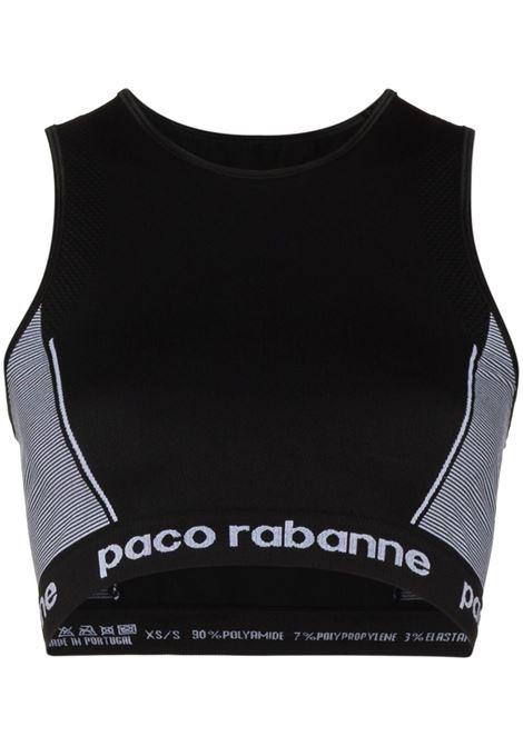 Black logo-trim seamless sports bra - women PACO RABANNE | 19EJT0004PA0135M002