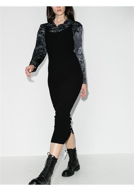 Black ribbed knit buttoned midi dress - women  PACO RABANNE | 20EMR0040ML0027P001