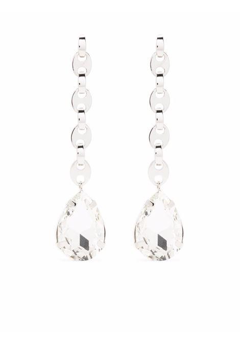 Silver-tone chain-link crystal drop earrings - women  PACO RABANNE | 21ABB0178MET112P040