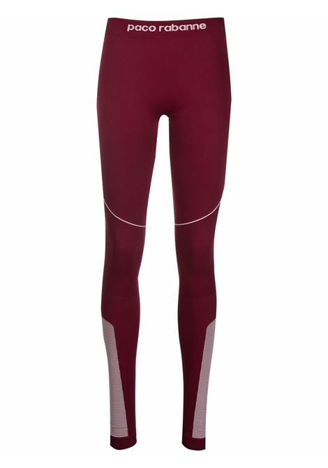 Bordeaux logo-waistband leggings - women  PACO RABANNE | 21AJPA003PA0135M615
