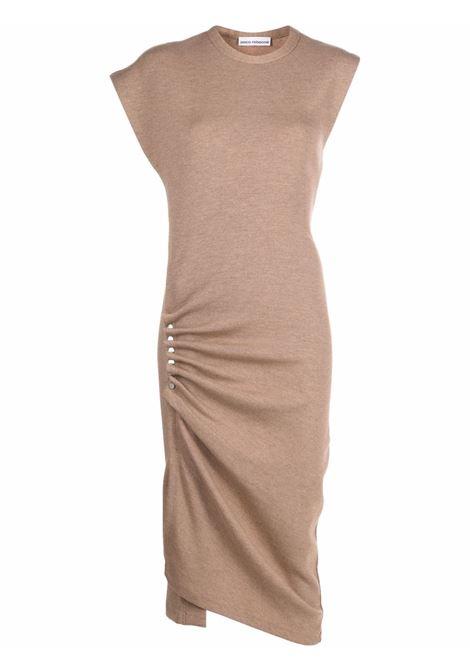 Asymmetrical midi dress in beige - women PACO RABANNE | 21AJR0007LA0214210