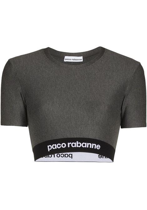 Grey logo tape cropped top - women  PACO RABANNE | 21AJT0002VI0041033