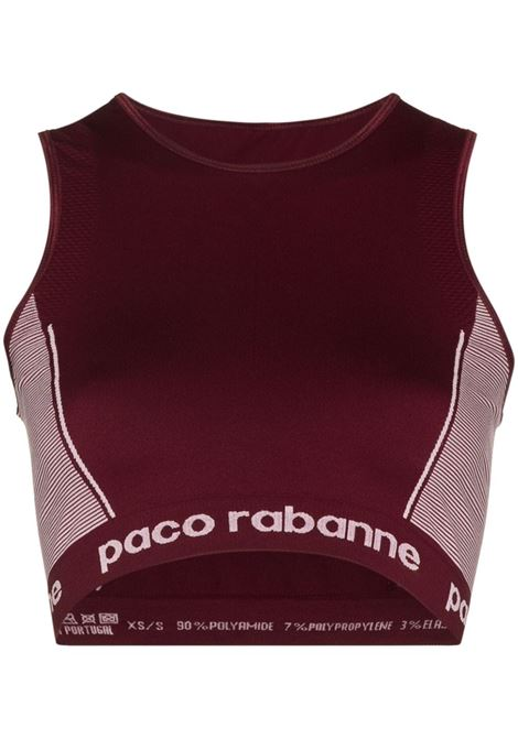 Top sportivo con stampa in bordeaux - donna PACO RABANNE | 21AJT0004PA0135M615