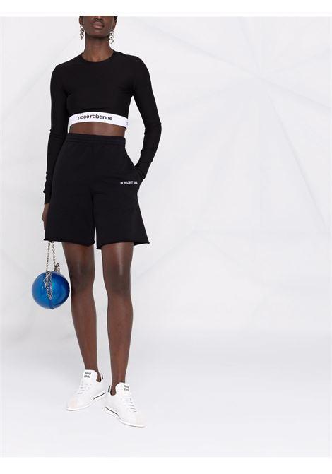 Black logo-tape cropped top - women  PACO RABANNE | 21AJT0354VI0071P001