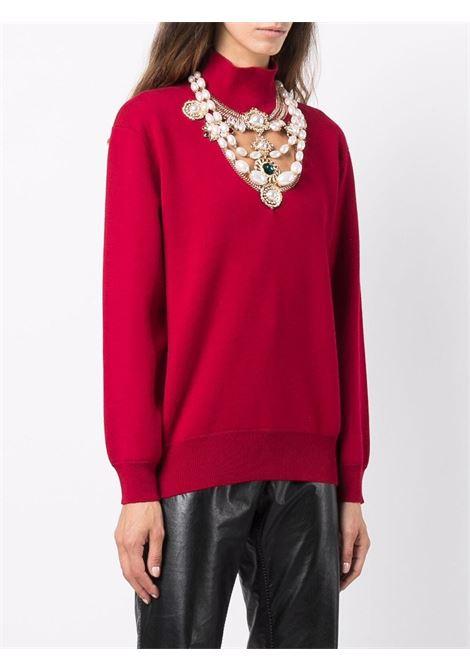 Red faux-pearl embellished merino jumper - women  PACO RABANNE | 21AMPU139ML0134P600