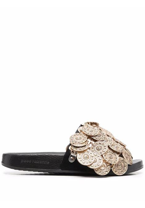 Gold-tone embellished slip-on slides - women PACO RABANNE | 21HHH0073EMB005P711