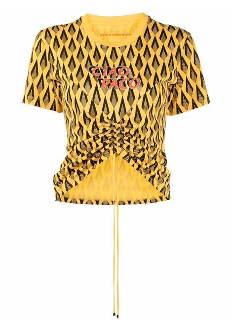 Ciao paco geometric-print t-shirt yellow black - women  PACO RABANNE | 21HJTE063C00411V724