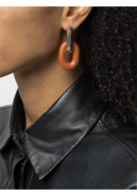 Silver and cognac chain link drop earrings - women  PACO RABANNE | 21PBB0024MET165M029