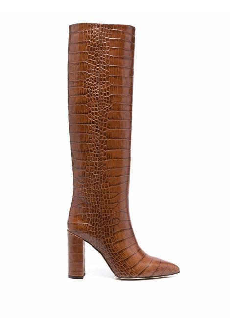 Crocodile-effect knee-high boots brown - women PARIS TEXAS | PX120XCOCOCSTGN