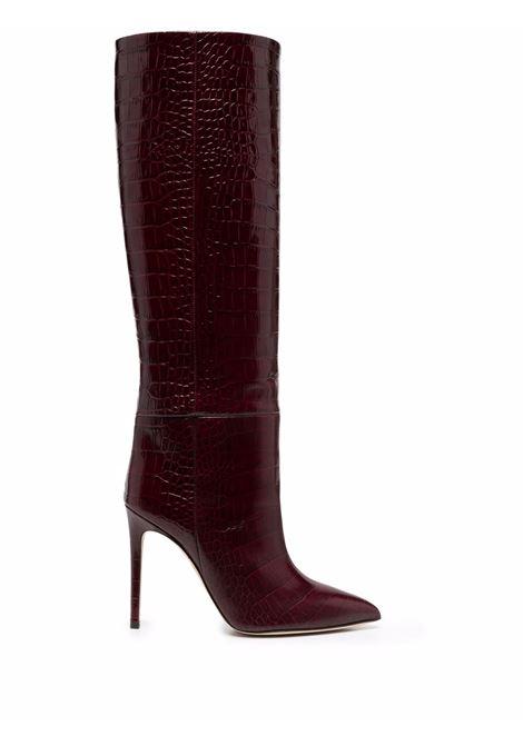 Lizard-skin effect boots in burgundy red - women PARIS TEXAS | PX133XGCOCGLSSYRGNR