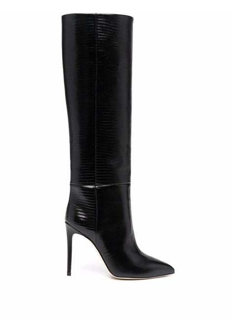 Lizard skin-effect knee-high boots black- women PARIS TEXAS | PX133XTJS5BLK
