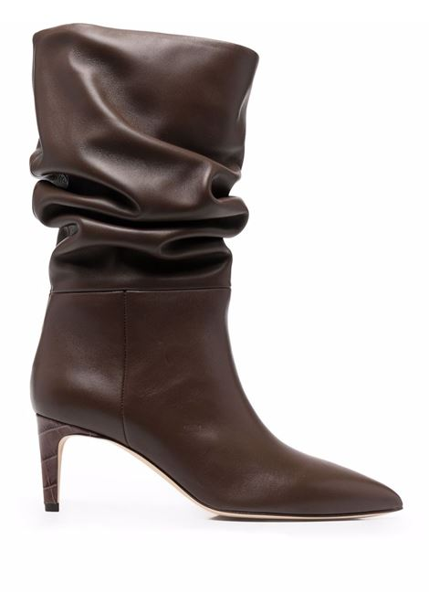 Slouchy leather boots in cocoa brown - women PARIS TEXAS | PX511XNPP3CC