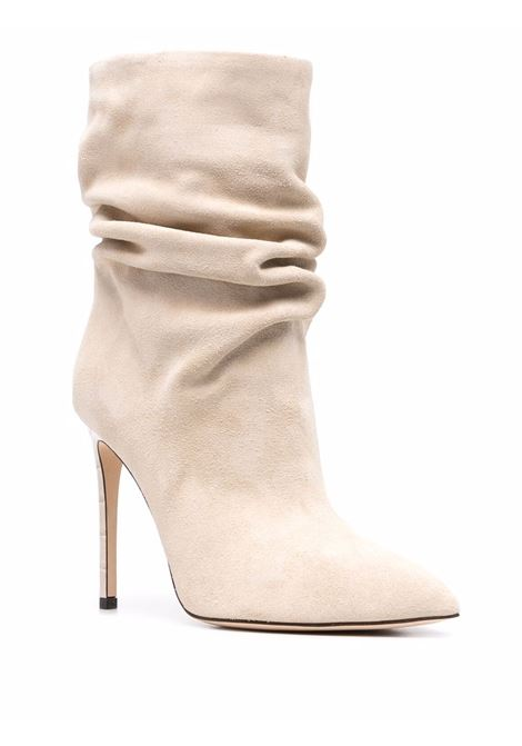 Slouchy leather boots with stiletto heel in beige - women PARIS TEXAS | PX519XV003ANGR