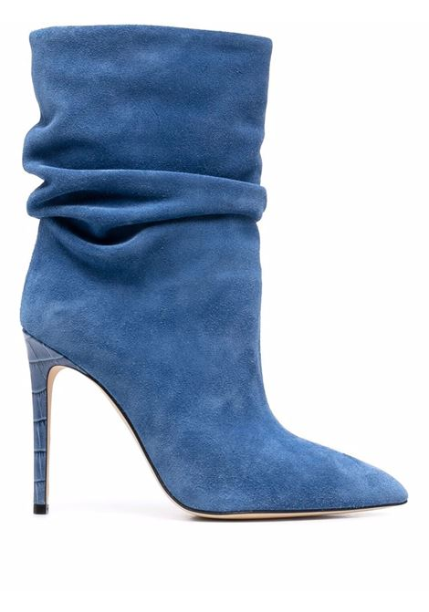 Slouchy leather boots with stiletto heel in jeans blue - women PARIS TEXAS | PX519XV003JNS