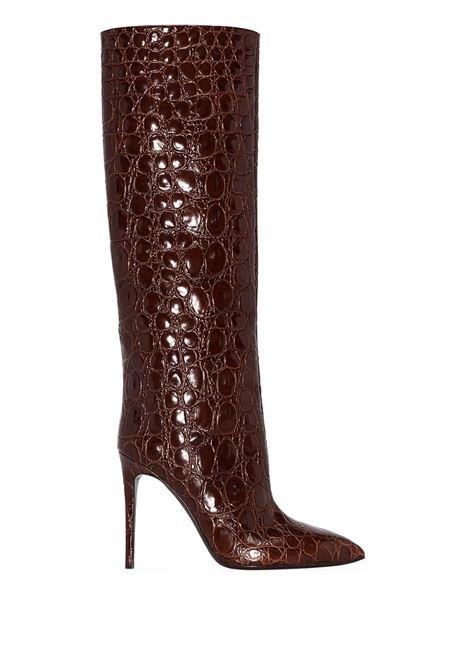 Brown crocodile-effect 105mm knee-high boots - women  PARIS TEXAS | PX672XMCOCFNDNT
