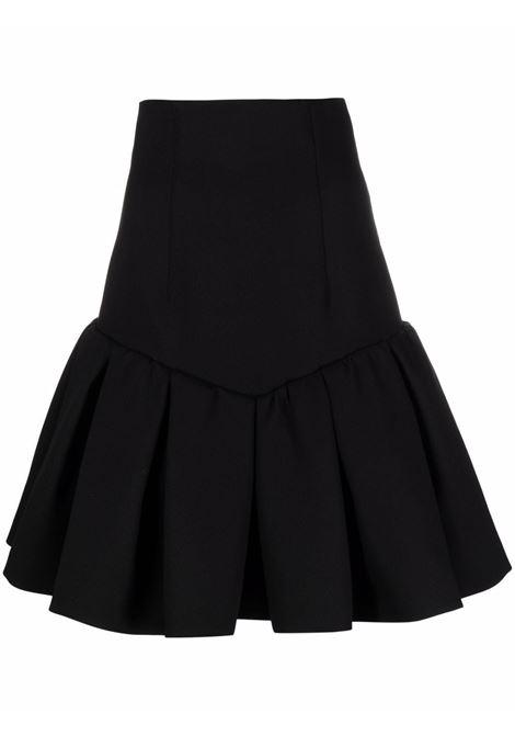 Black flared pleated short skirt - women  PHILOSOPHY DI LORENZO SERAFINI | A01147123555
