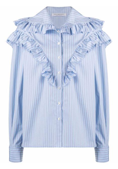 Camicia a righe con ruches blu - donna PHILOSOPHY DI LORENZO SERAFINI | A021957211293