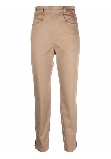 Logo-embroidered straight-leg trousers in beige - women  PHILOSOPHY DI LORENZO SERAFINI | A03075729478