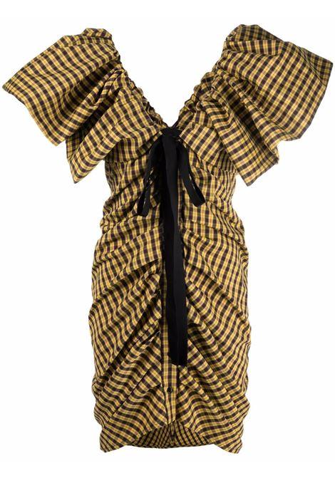 Checked draped short dress in yellow and black - women  PHILOSOPHY DI LORENZO SERAFINI | A040757231029
