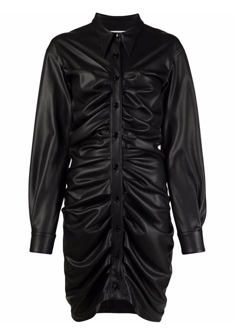 Ruched leather-effect  shirtdress in black - women  PHILOSOPHY DI LORENZO SERAFINI | A04095740555