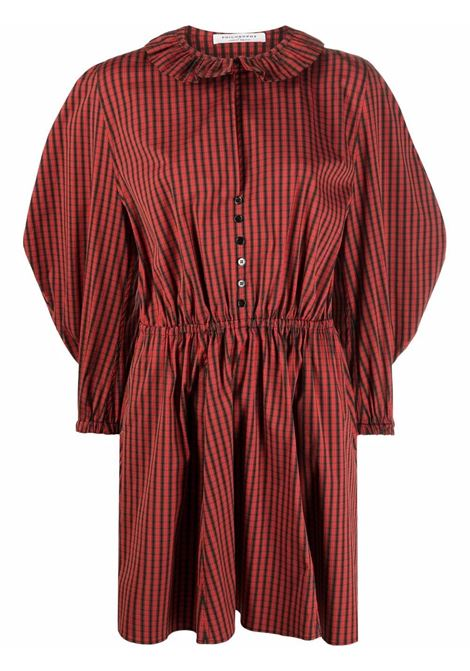 Puff-sleeved checked dress in red and black -women  PHILOSOPHY DI LORENZO SERAFINI | A041857231115