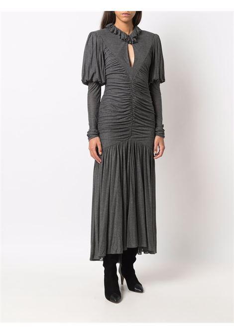 Ruffled keyhole-neck dress in grey - women  PHILOSOPHY DI LORENZO SERAFINI | A04255734498